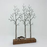 David Mayne 'Silver Birch with Fox' Steel Sculpture
